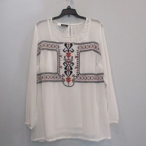 Simply Emma Plus Size Top Embroidered 1X White New